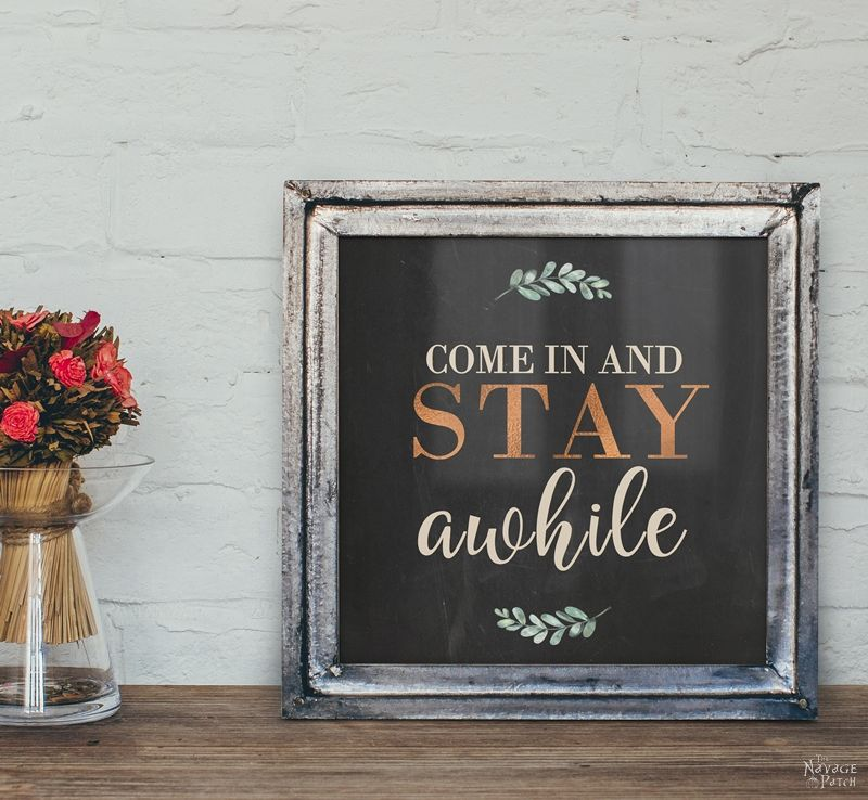 DIY Stay Awhile Sign With Free Printables - The Navage Patch