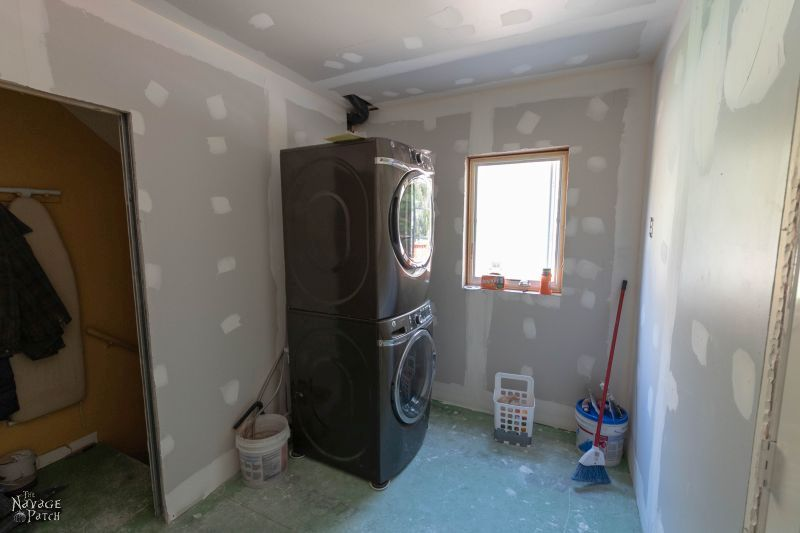 Laundry Room Update   Laundry room renovation   How to turn your laundry closet to a laundry room   Cabinet design for a small laundry room   Best flooring for laundry rooms   Kichler lights   #TheNavagePatch #DIY #LaundryRoom #Renovation #RoomMakeover   TheNavagePatch.com