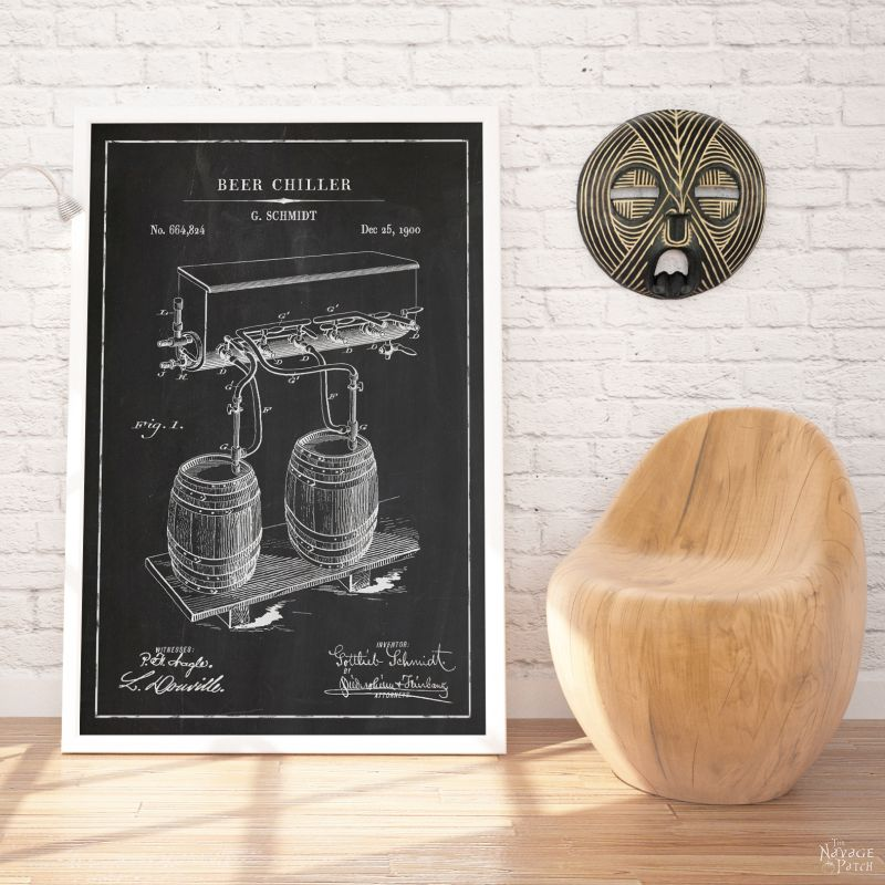 Beer and Whiskey Patent Art Printables | Vintage Patent Art Free Printables| Free Vintage Blueprints and patent drawings | Free DIY gift | Free Vintage Beer and Whiskey Patent Posters | Free Vintage Blueprint and Diagrams | Free ready-to-print Gallery Wall for Patent Art Lovers | #TheNavagePatch #FreePrintable #PatentArt #VintagePrintable #Blueprint #FreeArt #GalleryWall | TheNavagePatch.com