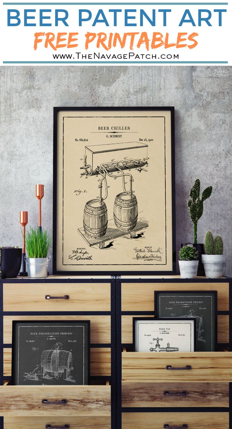 Beer Patent Art Printables | Vintage Patent Art Free Printables| Free Vintage Blueprints and patent drawings | Free DIY gift | Free Vintage Beer and Whiskey Patent Posters | Free Vintage Blueprint and Diagrams | Free ready-to-print Gallery Wall for Patent Art Lovers | #TheNavagePatch #FreePrintable #PatentArt #VintagePrintable #Blueprint #FreeArt #GalleryWall | TheNavagePatch.com