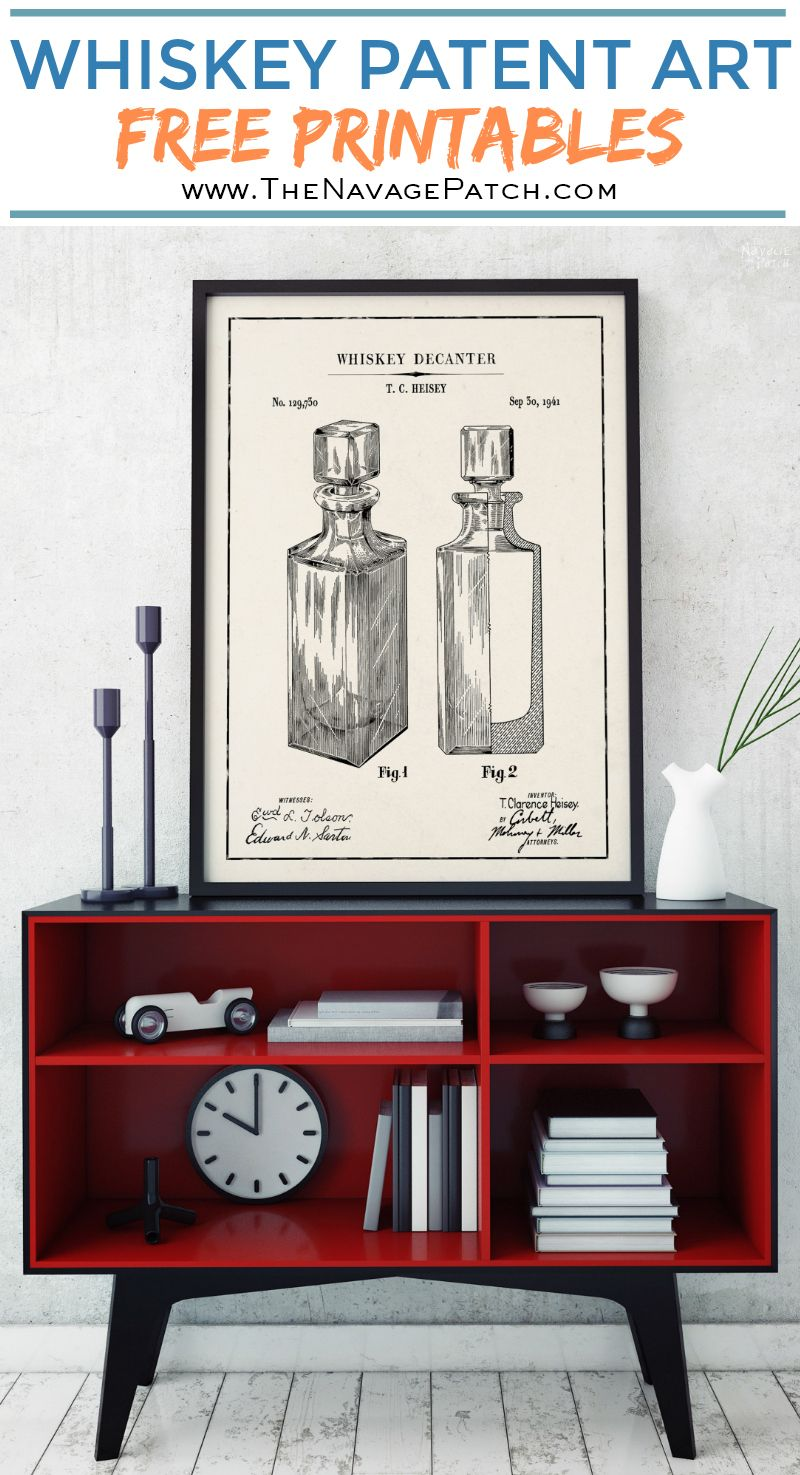 Whiskey Patent Art Printables | Vintage Patent Art Free Printables| Free Vintage Blueprints and patent drawings | Free DIY gift | Free Vintage Beer and Whiskey Patent Posters | Free Vintage Blueprint and Diagrams | Free ready-to-print Gallery Wall for Patent Art Lovers | #TheNavagePatch #FreePrintable #PatentArt #VintagePrintable #Blueprint #FreeArt #GalleryWall | TheNavagePatch.com