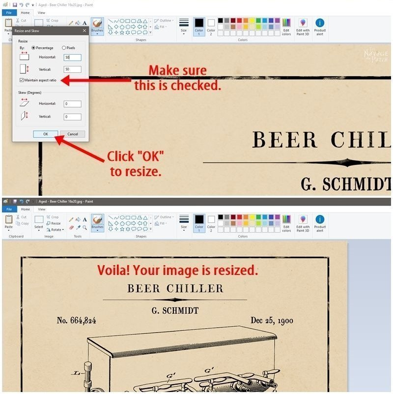 How to easily resize pictures for printing | How to resize large pictures to print with home printer | How to use paint app | #TheNavagePatch #HowTo #tutorial #DIY #Paint | TheNavagePatch.com