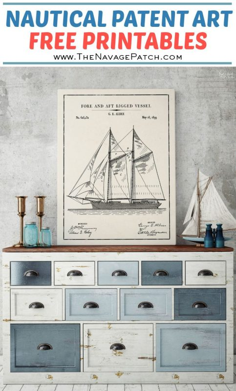 Free Printable Nautical Wall Art | Vintage Nautical Patent Art Free Printables| Free Vintage Blueprints and patent drawings | Free DIY gift | Free Vintage Sailing Ship Patent Posters | Free Vintage Sailing Ship Blueprint and Diagrams | Free Ready-to-print Gallery Wall for Nautical Art Lovers | #TheNavagePatch #FreePrintable #wallart #Coastaldecor #Nauticaldecor #PatentArt #VintagePrintable #Blueprint #FreeArt #GalleryWall #Nautical #Coastal | TheNavagePatch.com