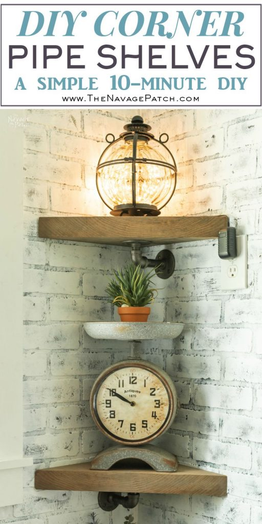 DIY Pipe Shelves | DIY industrial pipe shelves | How to get the weathered wood look | How to build pipe shelves | DIY pipe corner shelves | DIY industrial shelves | How to faux age wood using stain | #TheNavagePatch #DIY #Upcycled #diyfurniture #industrial #shelves #organization #easydiy #Laundry | TheNavagePatch.com