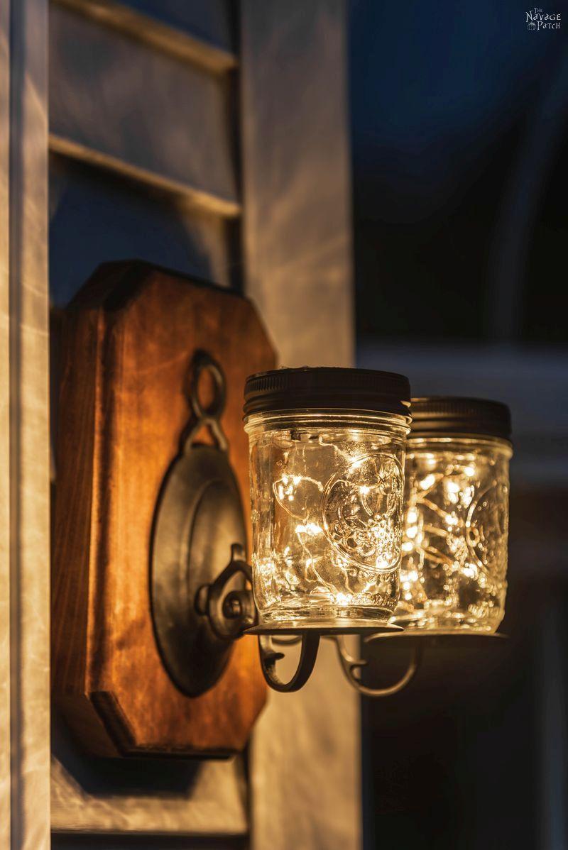 Solar Mason Jar Lights | DIY outdoor solar lights | Upcycled mason jar solar lights | How to drill glass easily | How to easily drill ceramic | DIY outdoor solar sconces from mason jars | DIY outdoor sconces | DIY Porch lighting | Repurposed mason jars | #TheNavagePatch #DIY #SolarLights #MasonJars #easydiy #masonjarlights #Lighting #Upcycled # Repurposed #HowTo #CurbAppeal #Porchdecor #farmhouse #farmhousestyle | TheNavagePatch.com