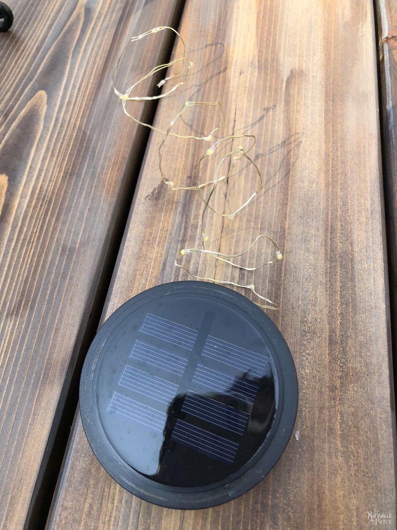 Super Simple Fairy Light Ideas | Easy 5-minute DIY | DIY outdoor fairy light ideas | Easy DIY solar lights | Easy DIY outdoor solar lights | DIY side table lights | How to make a lighted side table | DIY wine rack lights | Upcycled wine rack | DIY garden lights | Super Simple Solar Lighting Projects | #TheNavagePatch #upcycled #diy #easydiy #repurposed #Outdoor #Garden #Solarlight #backyard | TheNavagePatch.com