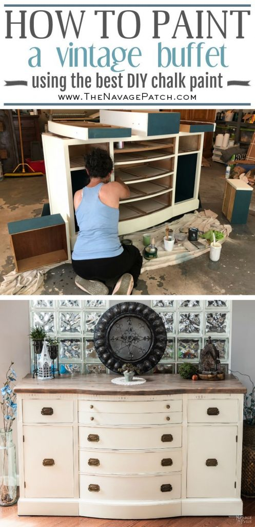 Vintage buffet makeover | How to paint a buffet table | How to build a buffet table top | Buffet table makeover with DIY chalk paint | Painted buffet cabinet before and after | Painted Buffet Ideas | Buffet Table Ideas | Annie Sloan old white | #TheNavagePatch #diy #paintedfurniture #chalkpaint #diningroom #diyfurniture #HowTo #Tutorial #upcycled #furnituremakeover | TheNavagePatch.com