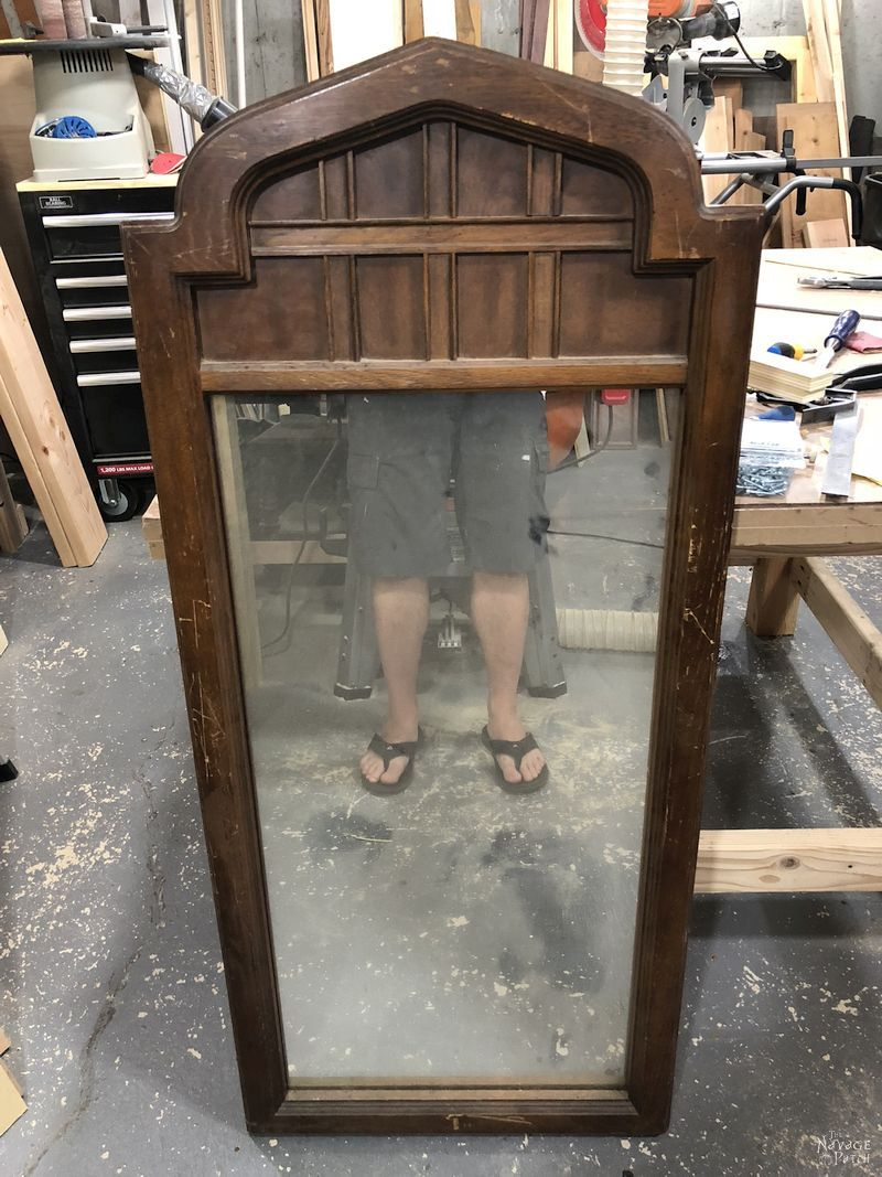 Arched Mirror Makeover   How to get weathered look using stain   Large mirror frame makeover   How to get the aged wood look with stain   How to create a rustic look with wood stain   DIY Mirror makeover   #TheNavagePatch #Furnituremakeover #HowTo #diy #homedecor #farmhouse #archedmirror #mirror #weathered   TheNavagePatch.com