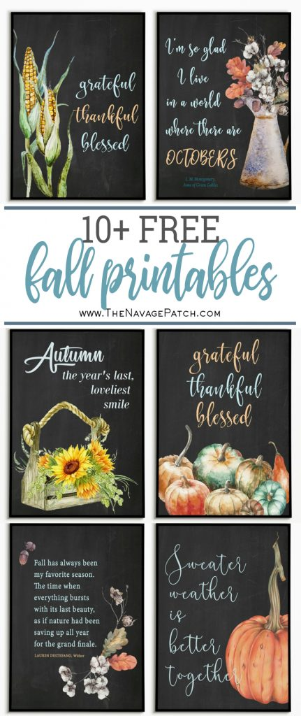 10+ Beautiful Free Fall Printables | DIY fall gallery wall | Free printables for an easy fall gallery wall | DIY fall wall decor ideas | Farmhouse fall printables | #TheNavagePatch #freeprintable #easydiy #Falldecorideas #pumpkin #falldecor #diy #thanksgiving #walldecor #Free #printable #fall | TheNavagePatch.com