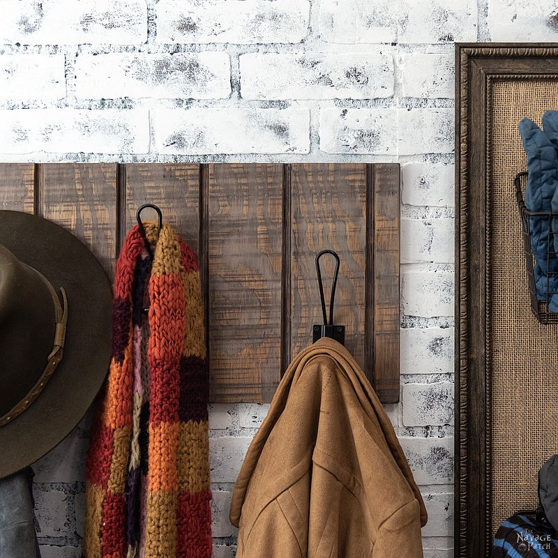 Simple DIY Coat Rack | DIY rental friendly wall mounted coat rack | How to build a simple coat rack in 10 minutes | How to get the aged wood look with stain | How to create a rustic look with wood stain | DIY 10 minute coat rack | #TheNavagePatch #easydiy #HowTo #diy #homedecor #rentalfriendly #inexpensive #weathered #organization | TheNavagePatch.com