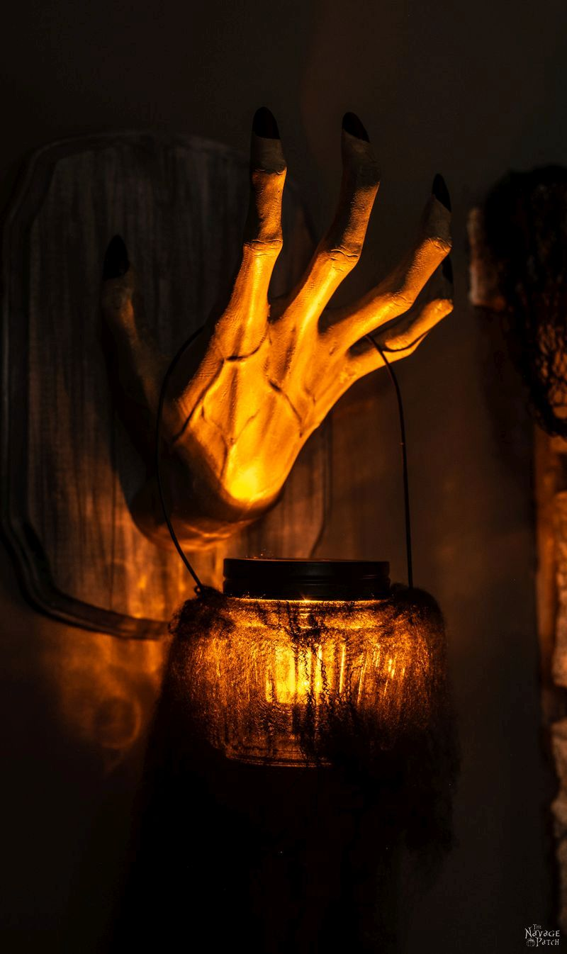 DIY Halloween Lanterns (Easy and Creepy) | DIY Spooky Halloween lanterns with Dollar Tree supplies | Creepy hands Halloween lanterns using Dollar Tree jars | Simple DIY Hanging swamp lanterns | #TheNavagePatch #halloweendecorations #halloween #easydiy #DIY #DollarTree #DollarStore #halloweencrafts #halloweenparty #spooky | TheNavagePatch.com