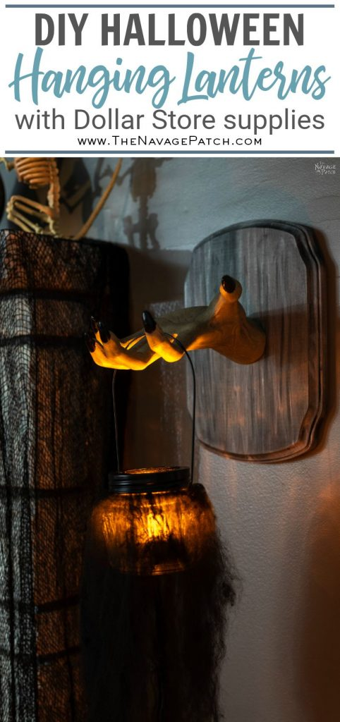DIY Halloween Lanterns (Easy and Creepy) | DIY Spooky Halloween lanterns with Dollar Tree supplies | Creepy hands Halloween lanterns using Dollar Tree jars | Simple DIY Hanging swamp lanterns | #TheNavagePatch #halloweendecorations #halloween #easydiy #DIY #DollarTree #DollarStore #halloweencrafts #halloweenparty #spooky | TheNavagePatch.com