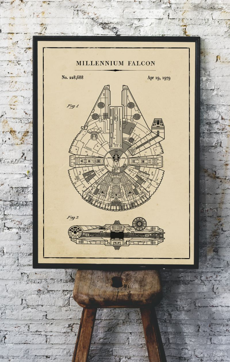 Free Printable Star Wars Blueprints | Free Star Wars printables | Star Wars free vintage blueprint posters | Free DIY Star Wars gift | Millennium Falcon, TIE Fighter, At At Walker, Snowspeeder, Imperial Shuttle, Slave 1, TIE Bomber, X Wing Starfighter Posters | Free printable gift for Star Wars fans | #TheNavagePatch #FreePrintable #Starwars #Blueprint #VintagePrintable #PatentArt #FreeArt #Oversize #Freeposters #GalleryWall #industrial | TheNavagePatch.com