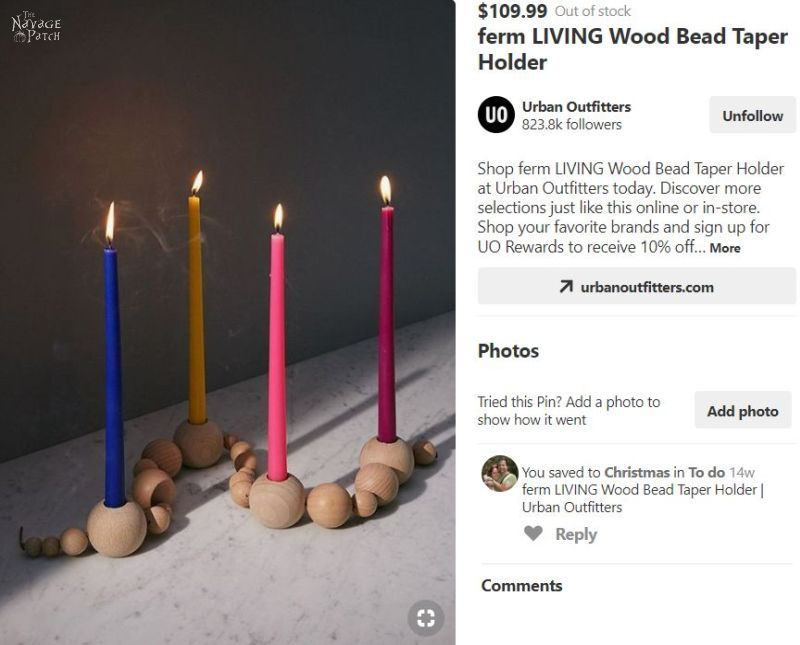DIY Bead Garland Candle Holder | Urban outfitters knockoff tapered candle holder beads | DIY double duty candle holders | Repurposed Christmas tree | #TheNavagePatch #easydiy #Christmas #Upcycled #Repurposed #DIY #Holidaydecor #DIYChristmas #Christmascrafts #Christmaslights #DIYHomedecor #Holidays | TheNavagePatch.com