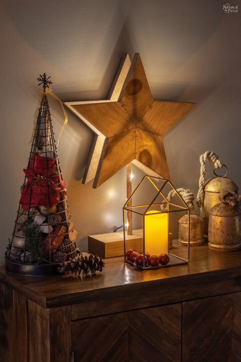 DIY Rustic Wood Stars and Star Lights with free template | How to make a wooden star the quick and easy way | Simple DIY Christmas star decor with lights | Free printable star pattern and star template | #TheNavagePatch #DIY #freeprintable #Christmas #Holidaydecor #DIYChristmas #Christmascrafts #easydiy #Christmaslights #DIYHomedecor #Holidays #starrylights | TheNavagePatch.com
