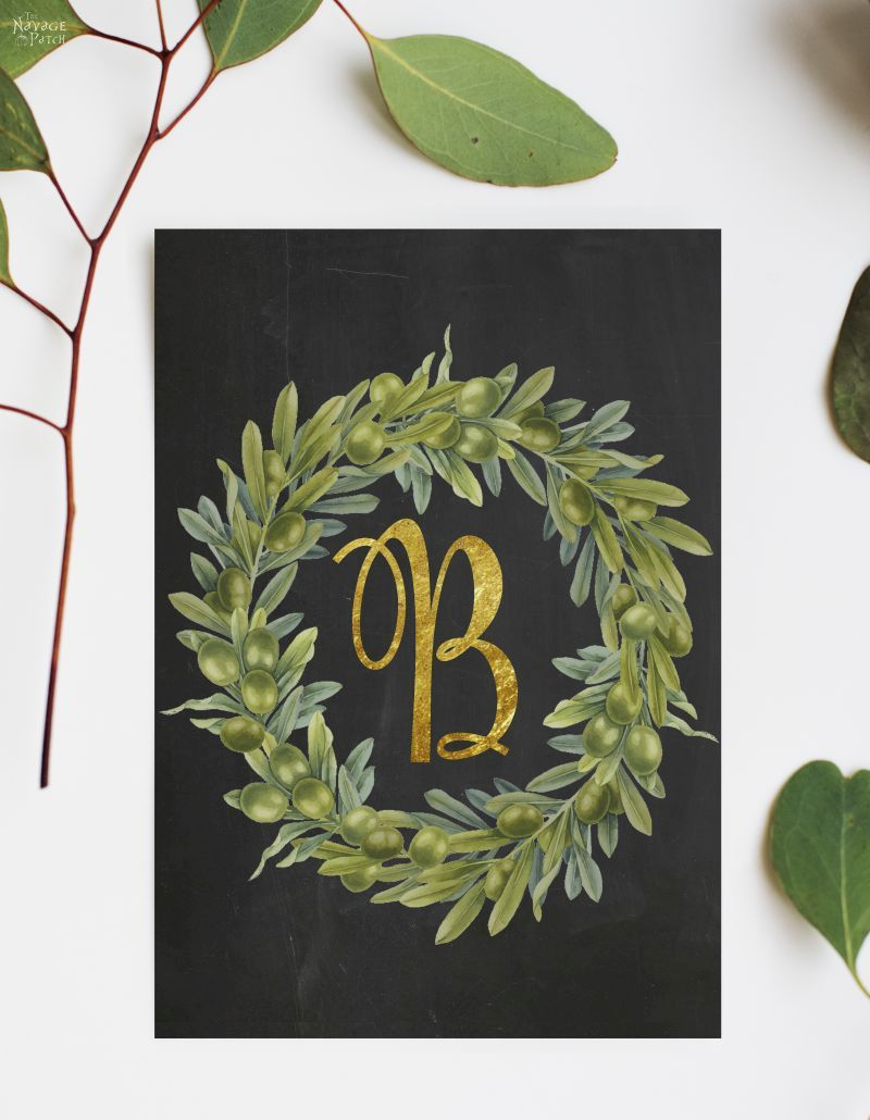 Free Printable Monogram Wall Decor and Place Cards   Free printable monogram letters  Free printable editable buffalo check monogram art  Free printable and editable buffalo check place cards   Farmhouse style olive wreath monogram letter printables   #TheNavagePatch #FreePrintable #FreeMonogram #easydiy #Initial #buffalocheck #Typography #Christmas #Thanksgiving #Holiday decor #DIY Christmas   TheNavagePatch.com
