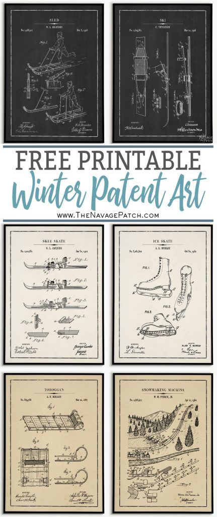 Free Winter Patent Prints | PB knockoff easy holiday decoration | Free printable Christmas blueprints | Free printable Christmas wall decor | Free and beautiful DIY Christmas gifts | #TheNavagePatch #FreePrintable #Christmas #PBknockoff #Christmasprintables #Blueprint #VintagePrintable #PatentArt #HolidayDecor #Knockoff #Freeposters #industrial | TheNavagePatch.com