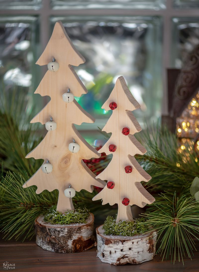 DIY Wood Alpine Tree with Jingle Bells   DIY Wooden Jingle Bell Trees with free tree pattern   How to make a wooden tree   DIY rustic wooden Christmas tree   #TheNavagePatch #easydiy #Christmas #Upcycled #DIY #freeprintable #treetemplate #treepattern #Holidaydecor #DIYChristmas #Christmascrafts #DIYHomedecor #Holidays #Alpinetree #Christmastree   TheNavagePatch.com