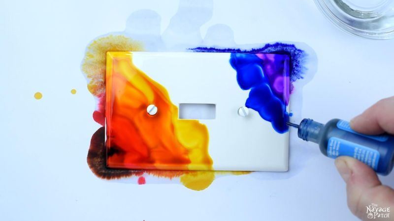DIY Alcohol Ink Switch Plates | DIY Alcohol Ink Art | How to create watercolor effect with alcohol ink | Upcycled switch plates | Alcohol ink ideas and easy alcohol ink painting technique | Easy 10-minute DIY | #TheNavagePatch #Upcycled #AlcoholInkArt #HowTo #VideoTutorial #EasyDIY #DIY #diyhomedecor #Colorful | TheNavagePatch.com