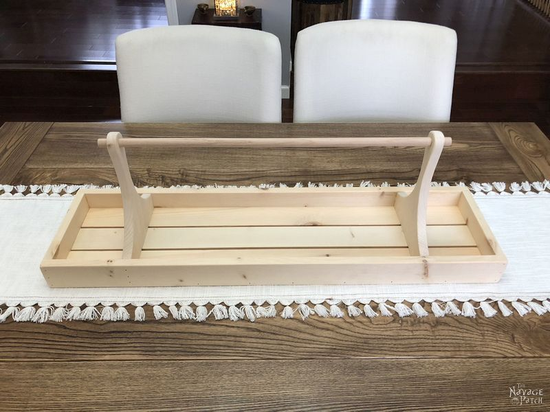 DIY Centerpiece Tray with free plans | How to build a large farmhouse tray | Step-by-step tutorial for DIY large tray | How to get weathered wood look | How to create a centerpiece in less than 5 minutes | Free woodworking plans | Free plans for a large farmhouse tray | #TheNavagePatch #DIY #easydiy #homedecor #DIYfurniture #HowTo #farmhouse #FreePlans #FreePrintable | TheNavagePatch.com