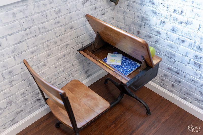 Vintage School Desk Makeover | How to restore an old desk | How to fix blotchy stain | How to restore vintage furniture | How to prevent blotchy stain | The best pre-stain conditioner | How to stain vintage furniture | #TheNavagePatch #furnituremakover #VintageFurniture #diy #WoodConditioner #WoodStain #HowTo #farmhouse #paintedfurniture | TheNavagePatch.com