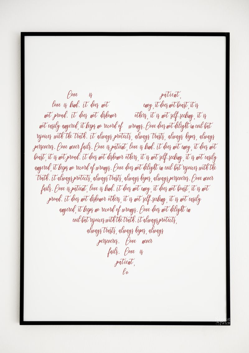 Love is kind typography art free Valentine's day printable