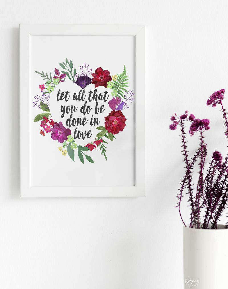 Free printable watercolor wreath for Valentine's Day