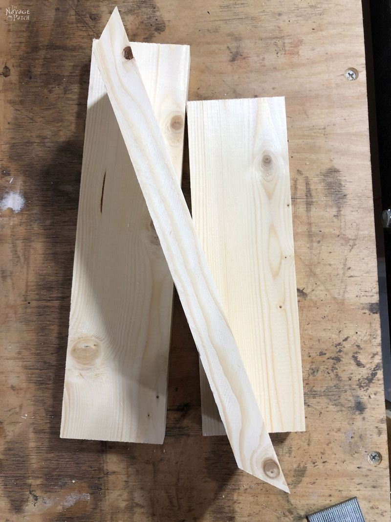 pine board with 45 degree mitered ends