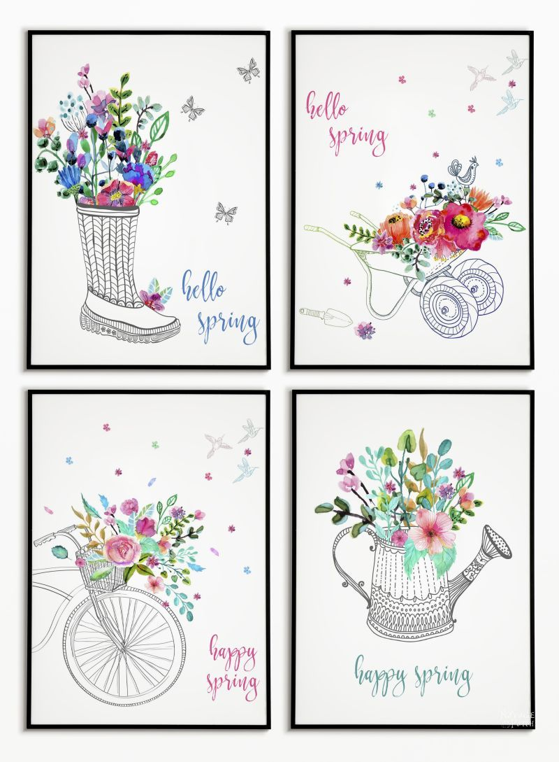 4 Free watercolor spring printables