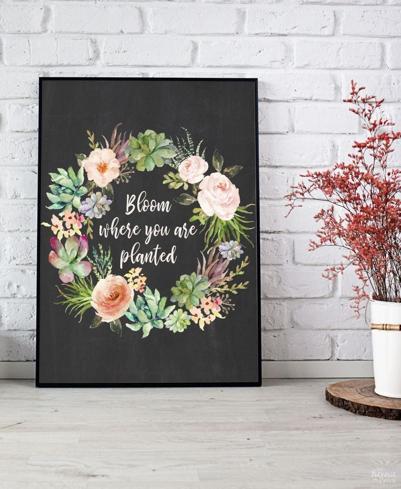 Free watercolor spring printable - bloom where you are planted
