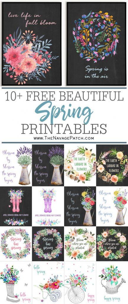 10+ Free watercolor spring printable pin image