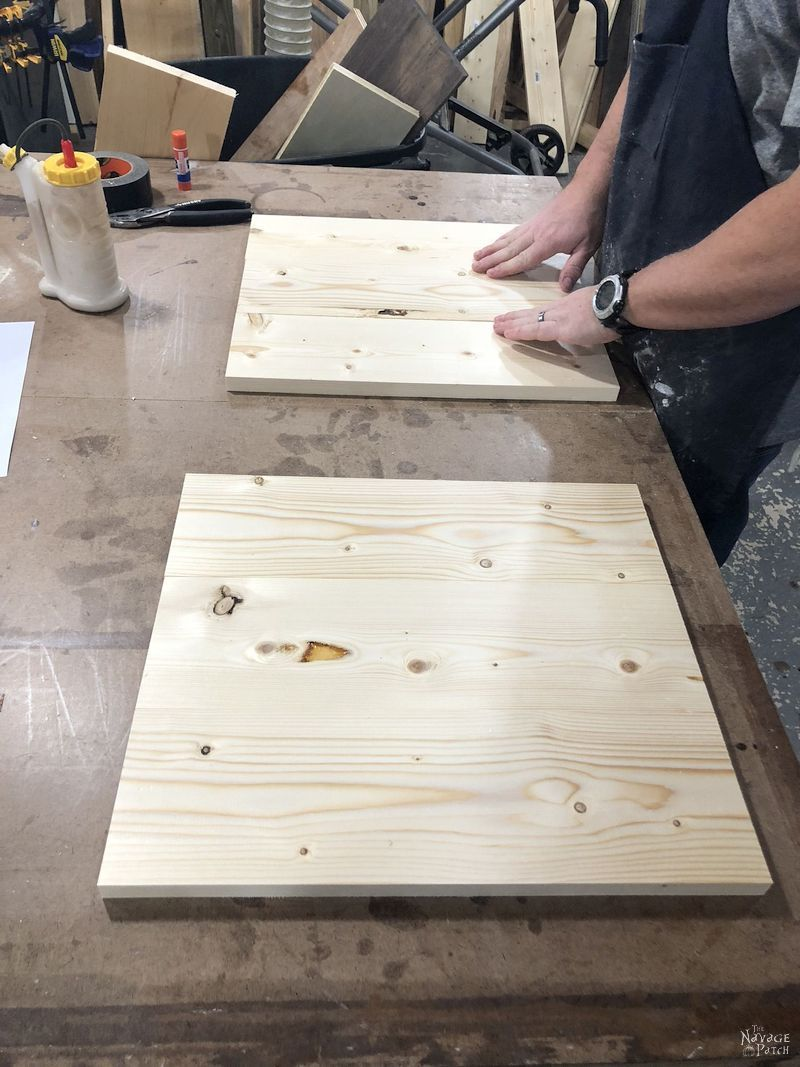 pine boards on a work bench