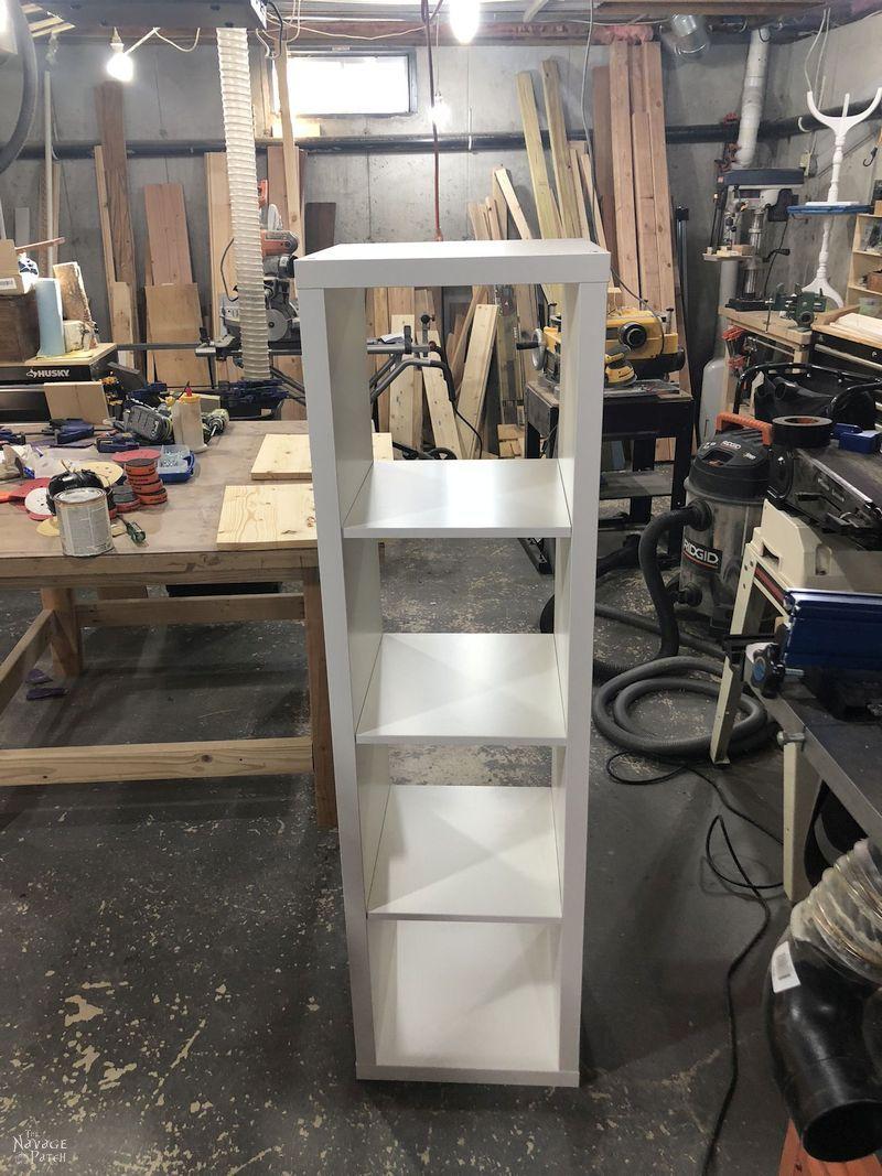 Iwhite KEA Kallax in a basement workshop