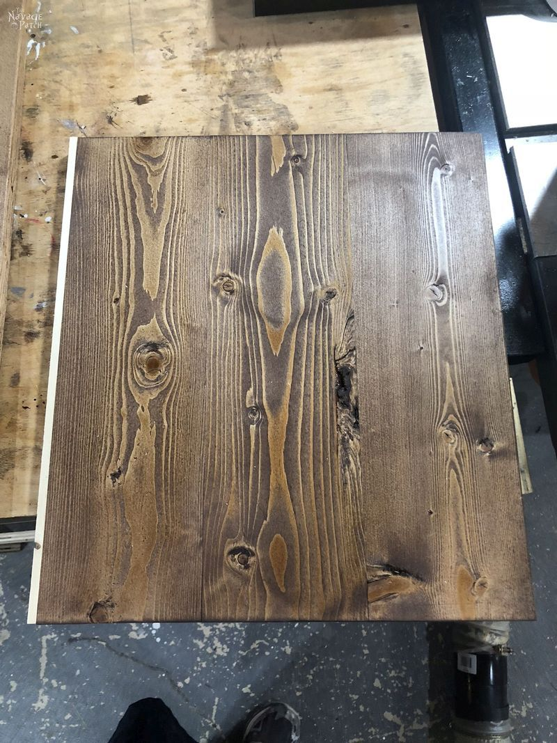 white strip of pine glued onto stained pine