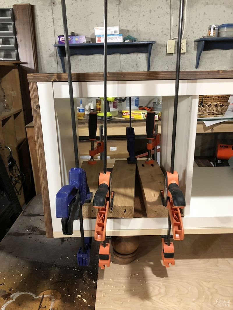 several clamps on kallax tv stand