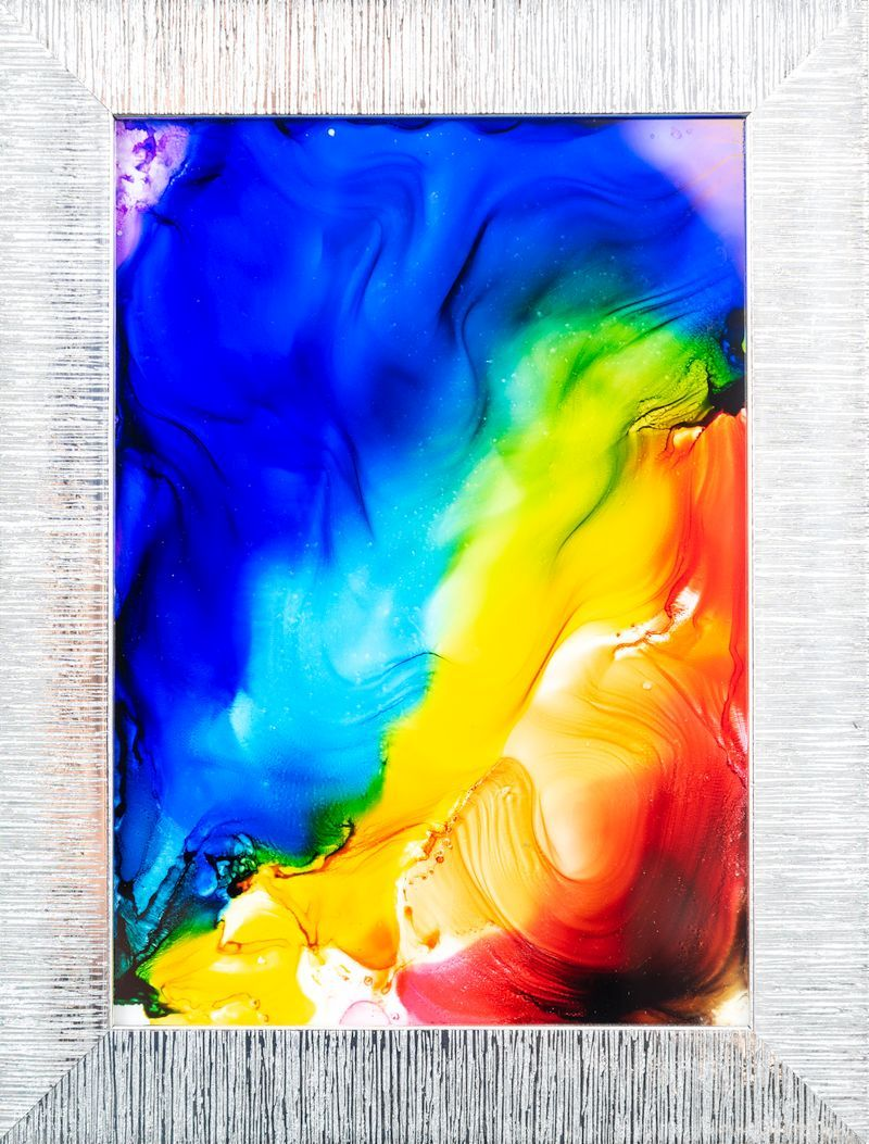 DIY Fired Alcohol Ink Art in frame