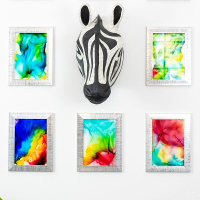 diy alcohol ink art on a wall