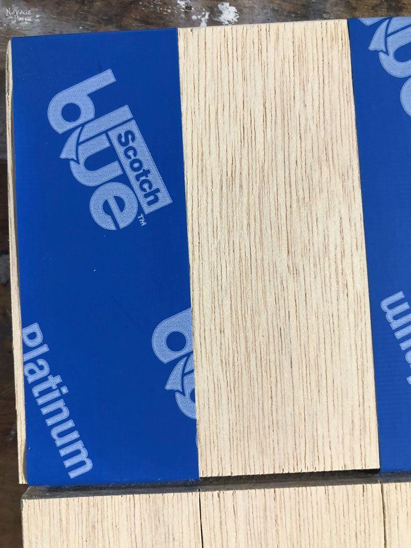 blue tape on plywood