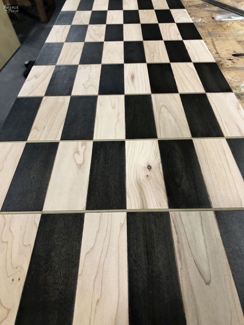 newly stained diy chess board
