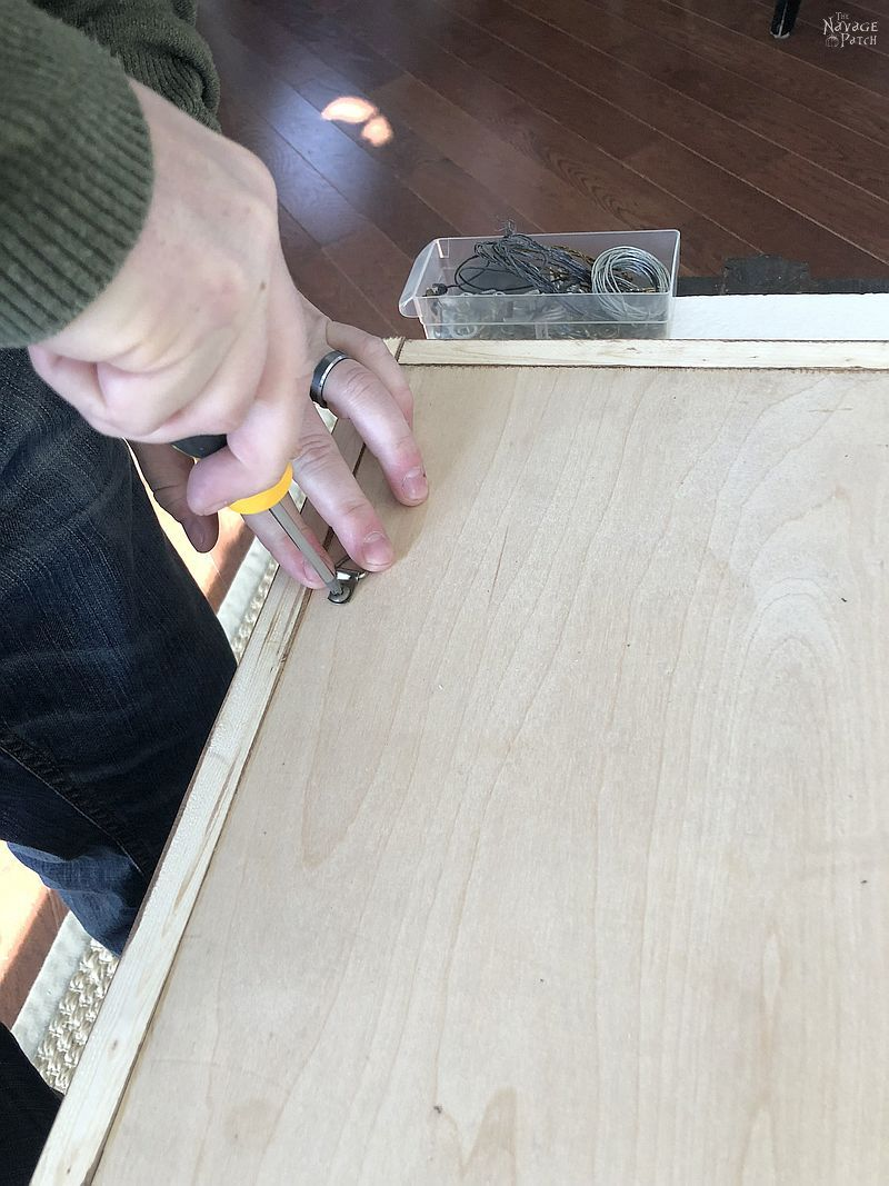 installing d-rings to the back of a diy vertical chess board