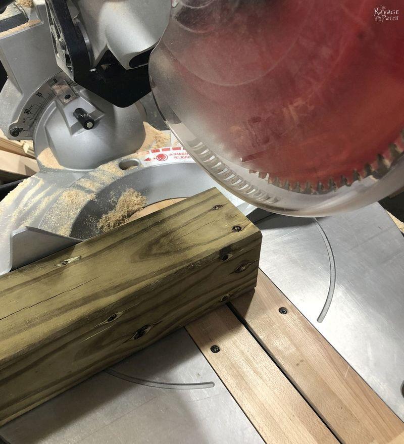 lumber on a miter saw