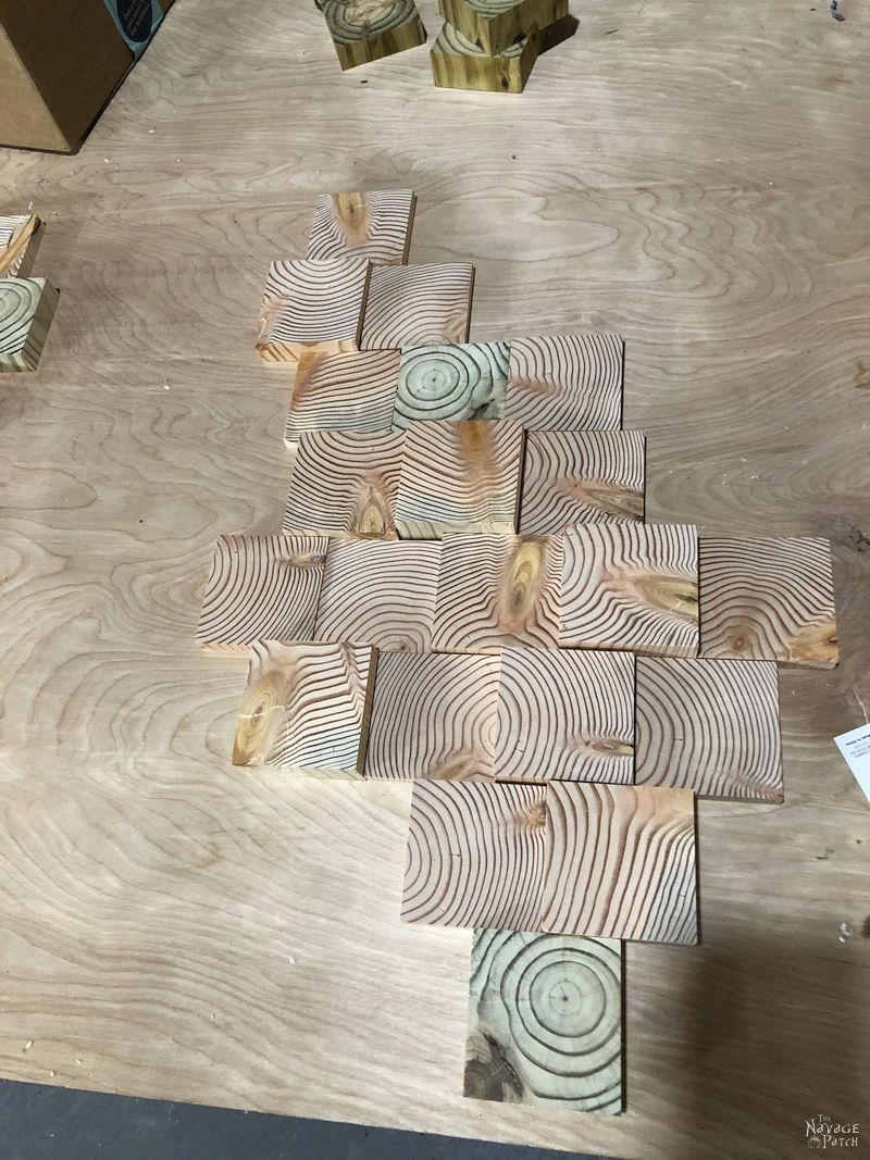 wood slices arranged on a table