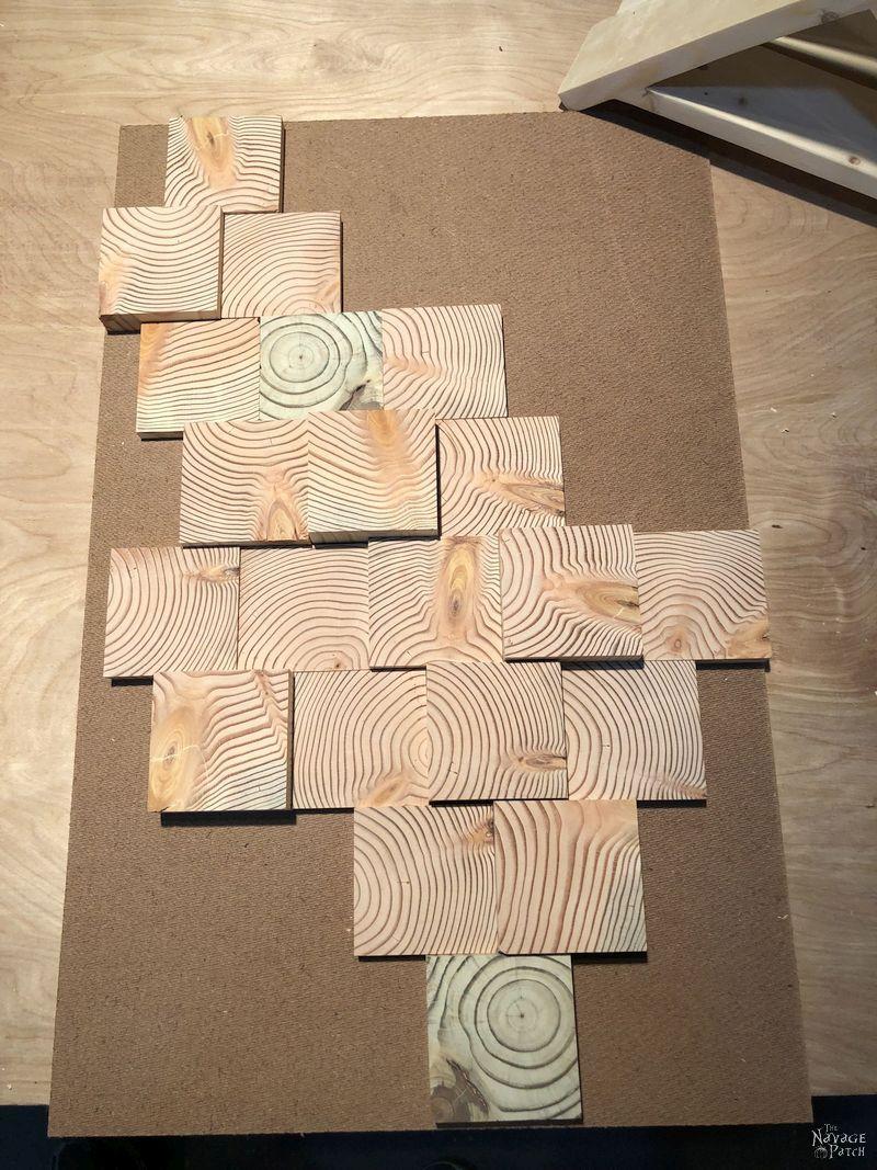 wood slices arranged on tempered hardboard