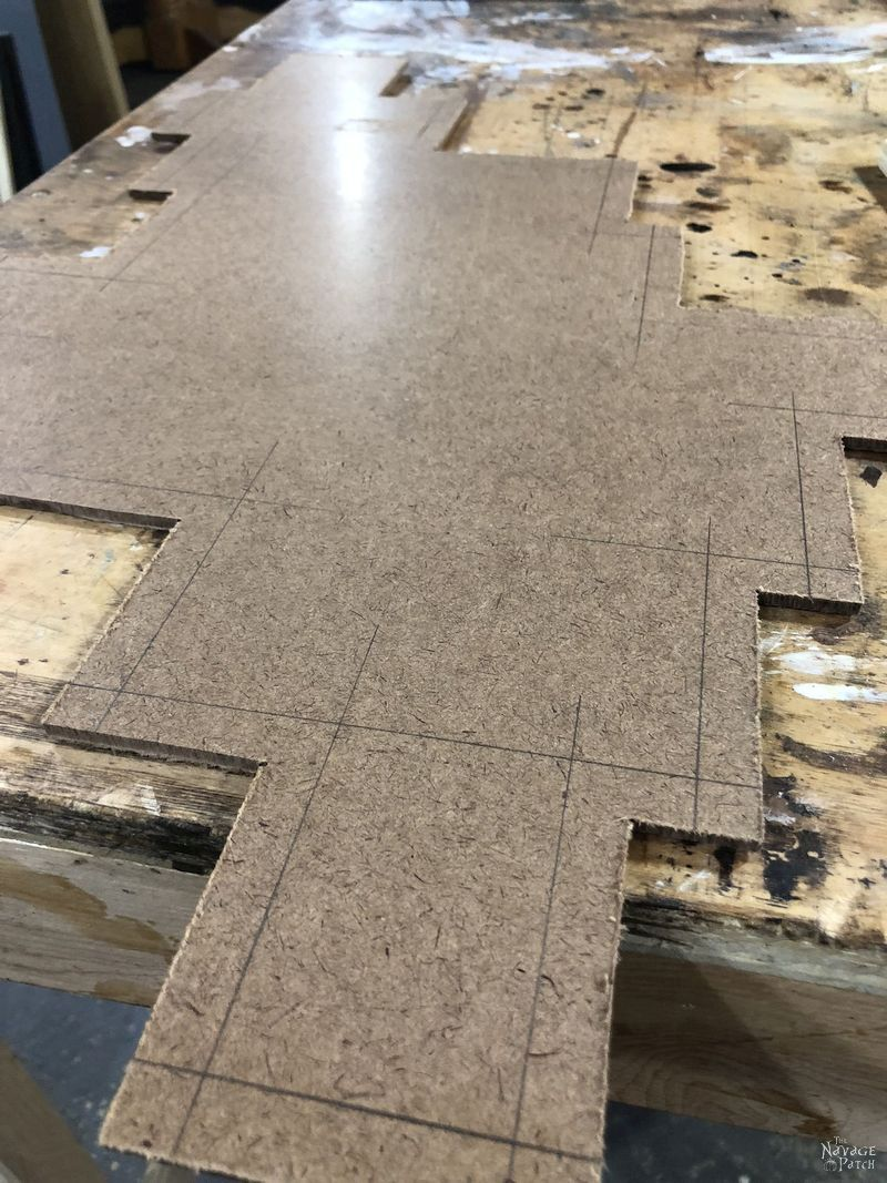 tempered hardboard with pencil lines
