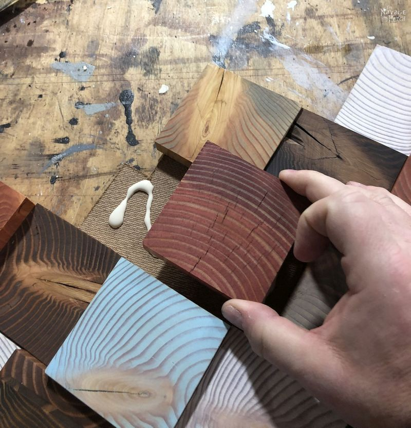 gluing stained wood slices onto tempered hardboard