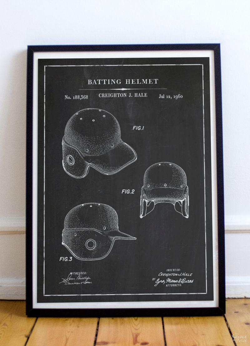 Free Printable Baseball Patent Art - Batting Helmet