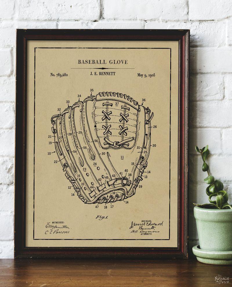 Free Printable Baseball Patent Art - Baseball Glove