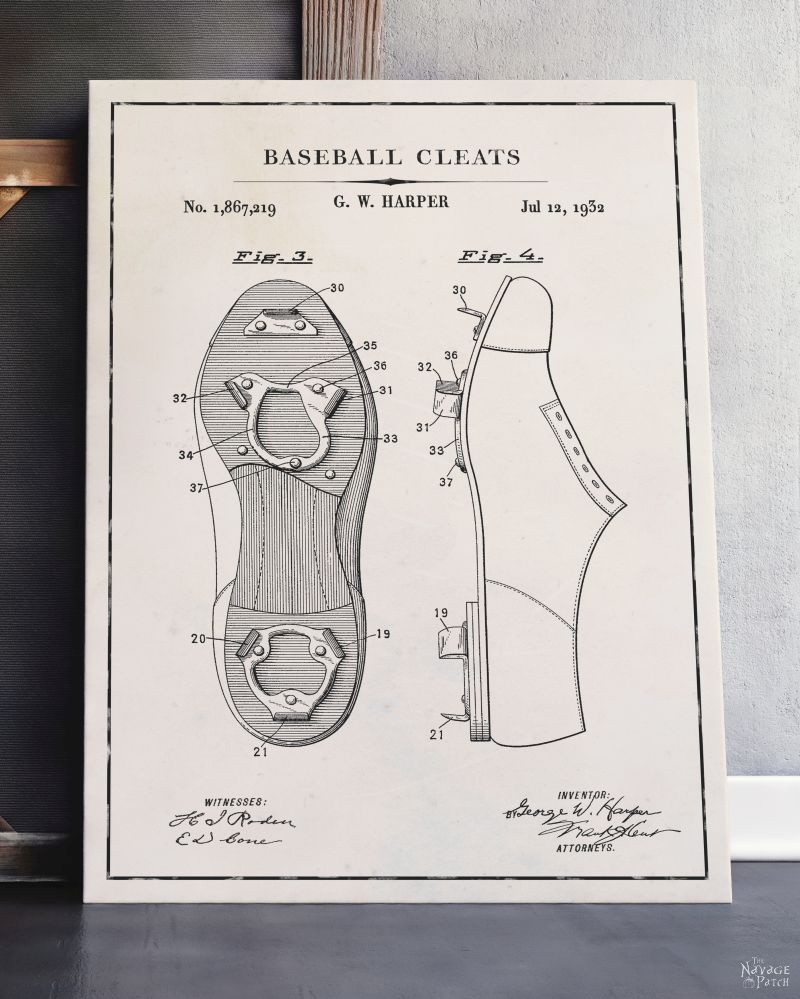 Free Printable Baseball Patent Art - Baseball Cleats