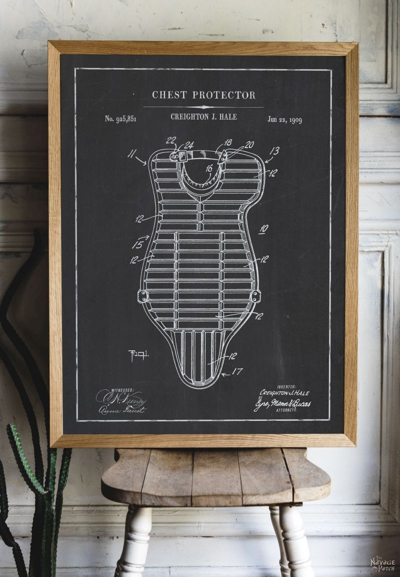 Free Printable Baseball Patent Art - Chest Protector