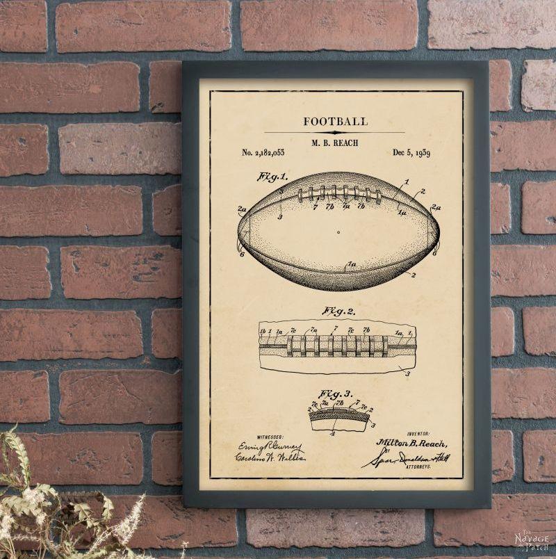 Vintage Football Patent Art Free Printable